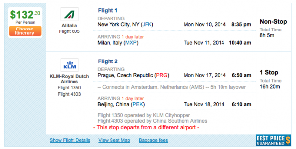 $132 to go from New York to Milan to Prague to Beijing...