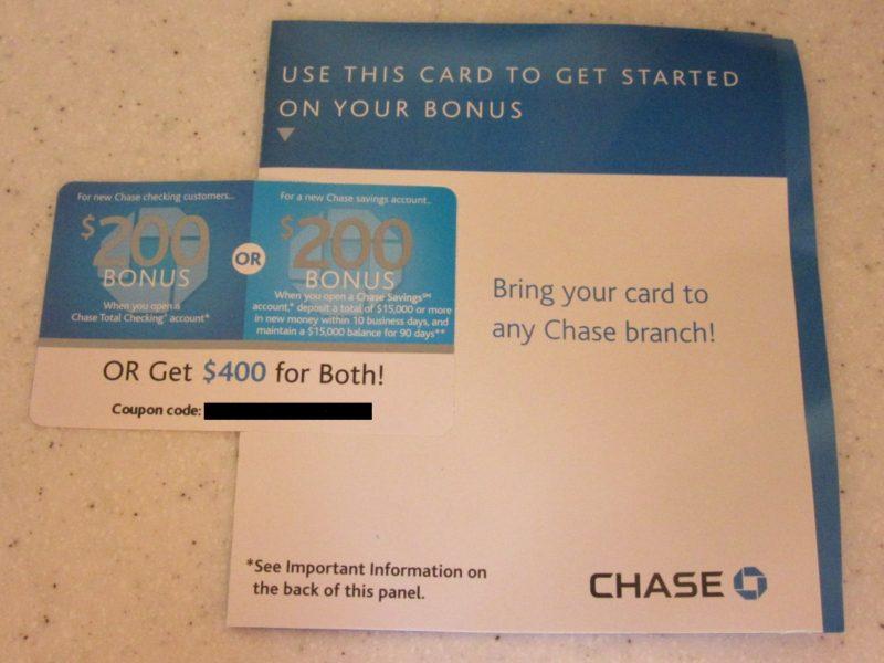 $400 Cash Bonus for Opening up Chase Bank Accounts